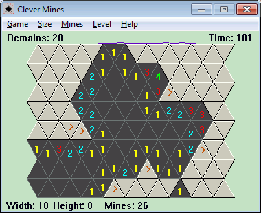 Minesweeper on triangular or square fields.