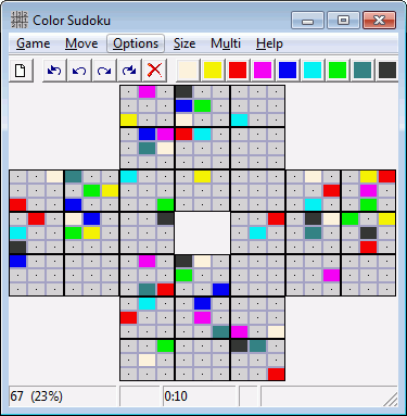 Sudoku game with numbers, letters or colors.